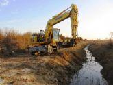 La CHS realiza obras de dragado del cauce bajo del río Guadalentín, en Totana
