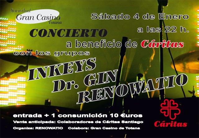 Hoy sábado 4 de enero tendrá lugar un concierto a benificio de Cáritas en Sociedad Gran Casino de Totana, Foto 1