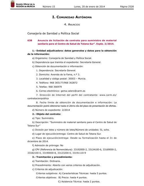 Publican en el BORM el anuncio de licitación del contrato para suministro de material sanitario para el nuevo Centro de Salud II