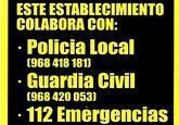 Los comercios y establecimientos hosteleros distribuirán adhesivos con los números de teléfonos de los cuerpos y fuerzas de seguridad y emergencias
