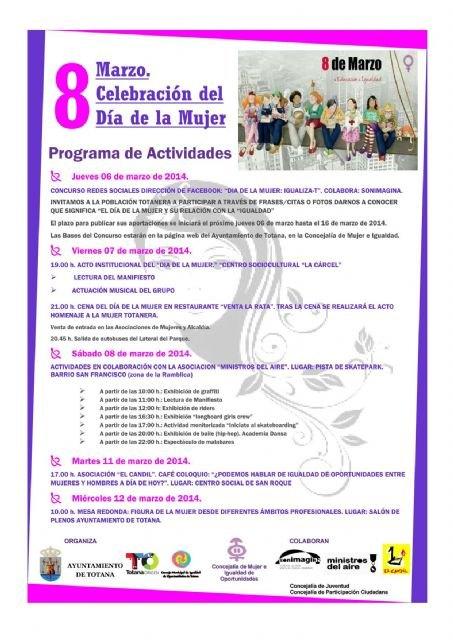 Los actos organizados con motivo de la celebración del Día Internacional de la Mujer Trabajadora en Totana tendrán lugar del 6 al 12 de marzo, Foto 2
