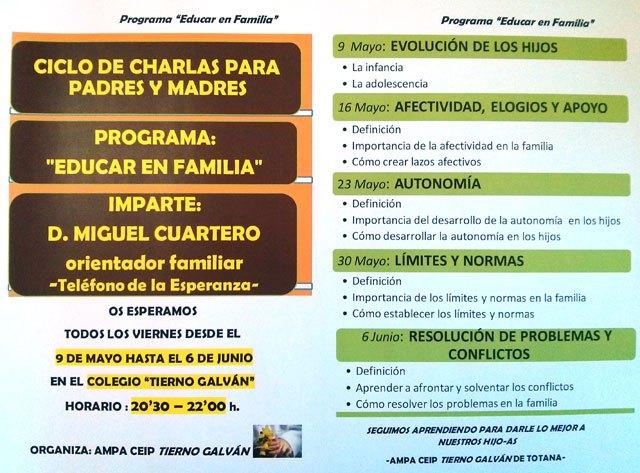 """El AMPA del CEIP Tierno Galván organiza un ciclo de charlas """"Educar en familia"""", Foto 1"""