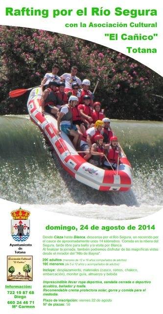 La Asociación Cultural El Cañico vuelve a organiza una jornada para disfrutar del descenso en rafting por el río Segura, Foto 1