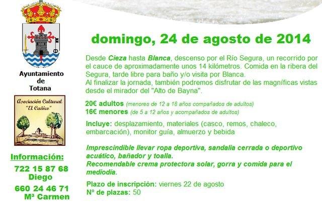 La Asociación Cultural El Cañico vuelve a organiza una jornada para disfrutar del descenso en rafting por el río Segura, Foto 2