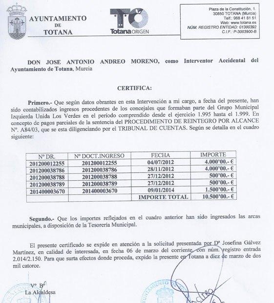 Nota de prensa IU Totana. Tribunal de Cuentas, Foto 1