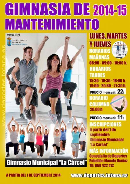 Hoy se abre el plazo de inscripción en el programa de Gimnasia de Mantenimiento organizado por la concejalía de Deportes, Foto 1