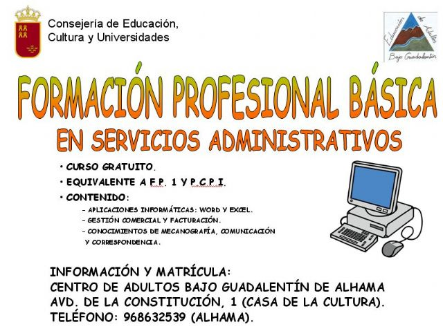 Abierta la matricula para el curso de Formación Profesional Básica en Servicios Administrativos, Foto 1