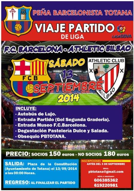 Todavía quedan plazas disponibles para el viaje al partido FC Barcelona – Ath. Bilbao, Foto 1