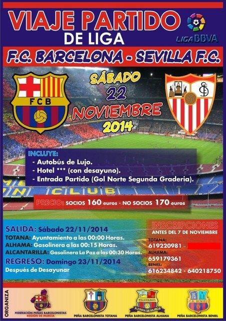 Las Peñas Barcelonistas de Totana, Alhama y Beniel organizan un viaje al partido FC Barcelona - Sevilla, Foto 1