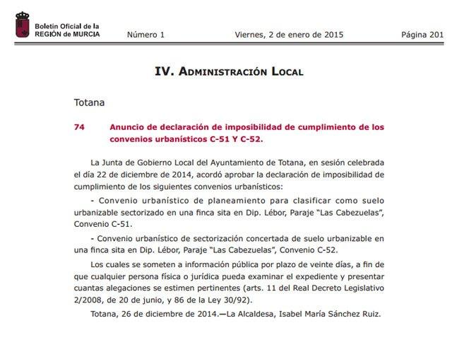 El BORM publica el anuncio de declaración de imposibilidad de cumplimiento de los convenios urbanísticos C-51 Y C-52, Foto 1