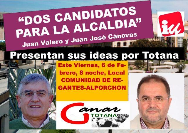 Los candidatos a las Primarias Abiertas convocadas por Izquierda Unida Totana expondrán sus ideas en una Asamblea Abierta, Foto 1