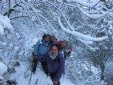 El club senderista de Totana realizó este fin de semana tres rutas senderista donde la nieve fue la gran protagonista