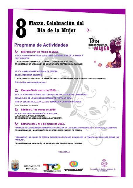 El Día de la Mujer Trabajadora congrega charlas, actividades de fomento de la igualdad y el acto institucional de homenaje a las mujeres totaneras, Foto 1