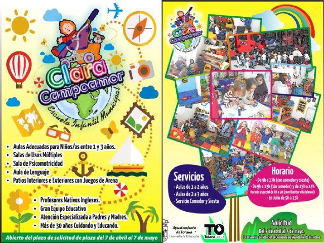 La Concejalía de Educación abre, hasta el próximo 7 de mayo, el plazo de admisión para la Escuela Infantil Municipal Clara Campoamor, Foto 1