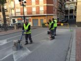 Realizan trabajos de repintado de la señalización horizontal en algunas calles del centro urbano de la ciudad