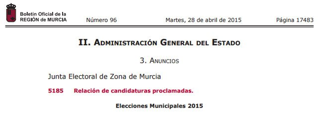 El BORM publica la relación de candidaturas proclamadas para las Elecciones Municipales 2015