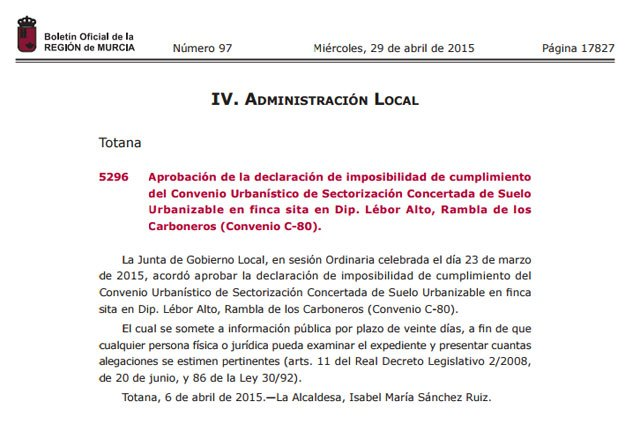 The BORM publishes the adoption of the declaration of non-compliance of the Urban Convention C-80 - 1
