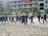 La playa del Rihuete punto de inicio del XXVI triatlón de Fuente Álamo