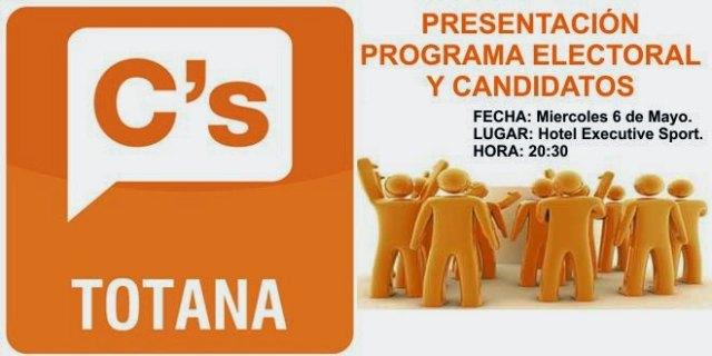 La presentación de la candidatura y el programa electoral de Ciudadanos Totana tendrá lugar el próximo miércoles 6 de mayo, Foto 1
