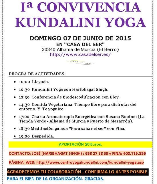 La 1ª Convivencia Kundalini Yoga tendrá lugar el domingo 7 de junio en El Berro (Alhama)