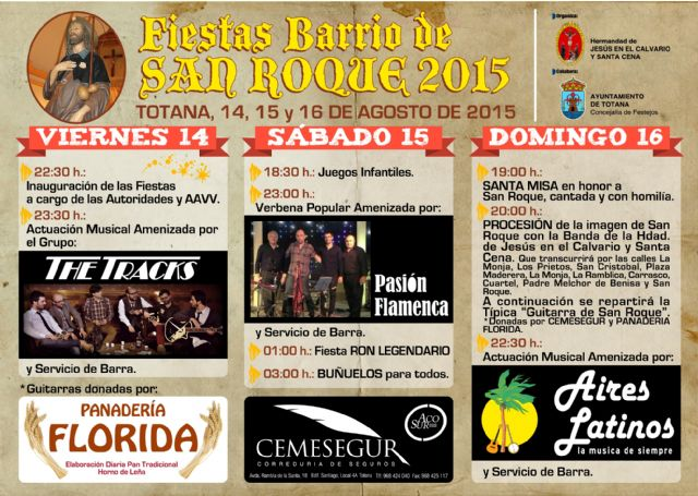 La Asociación de Vecinos y la Hermandad de Jesús en el Calvario celebrarán las fiestas de San Roque del 14 al 16 de agosto, Foto 1