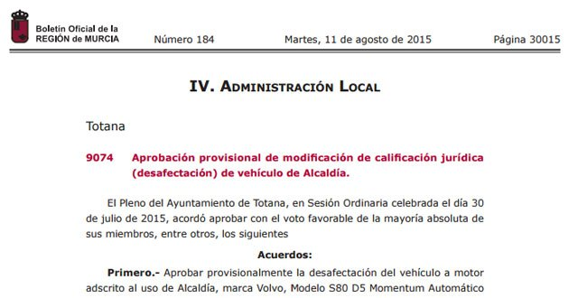 The BORM published the announcement of the provisional approval for modification of legal qualification (reversal) of vehicle Mayor, Foto 2
