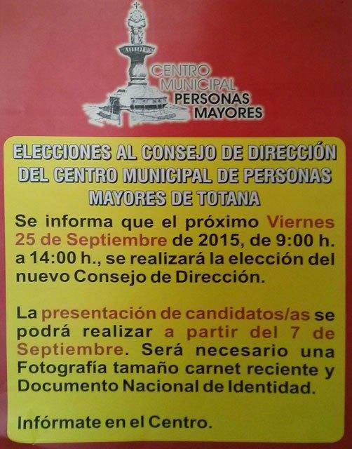 Las elecciones al Consejo de Dirección del Centro Municipal de Personas Mayores tendrán lugar el 25 de septiembre, Foto 1