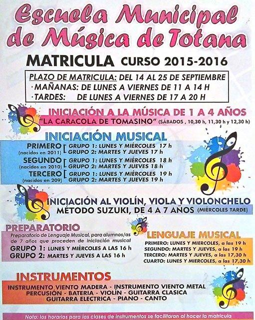 Información sobre los plazos de inscripción y novedades de la Escuela Municipal de Música para este curso 2015-2016, Foto 2