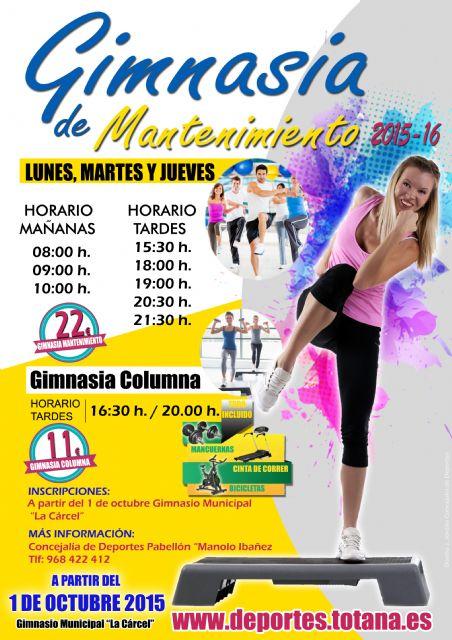 Deportes pondrá en marcha en octubre el programa municipal de Gimnasia de Mantenimiento 2015/2016, Foto 1