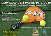 El 20 de noviembre comenzará una nueva liga local de padel