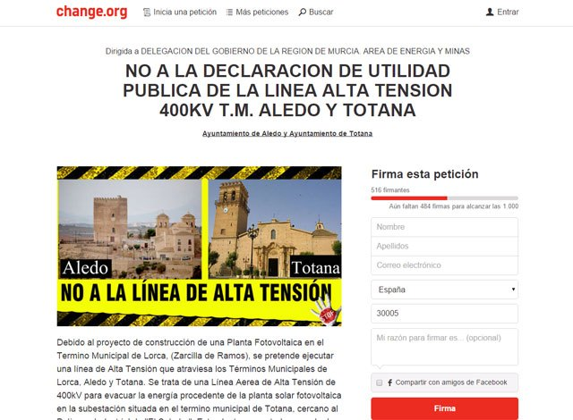 Lanzan una campaña de recogida de firmas en change.org en contra de la declaración de utilidad pública de la línea alta tensión 400kv t.m. Aledo y Totana, Foto 1