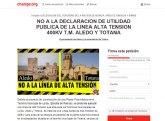Lanzan una campaña de recogida de firmas en change.org en contra de la declaración de utilidad pública de la línea alta tensión 400kv t.m. Aledo y Totana