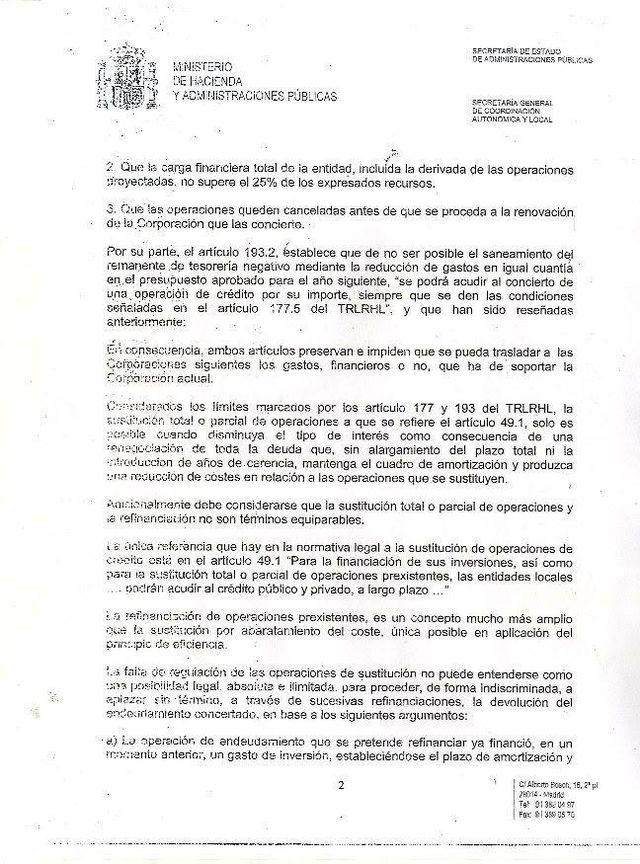 El alcalde hace público un escrito oficial del Ministerio de Hacienda fechado en 2012, Foto 1