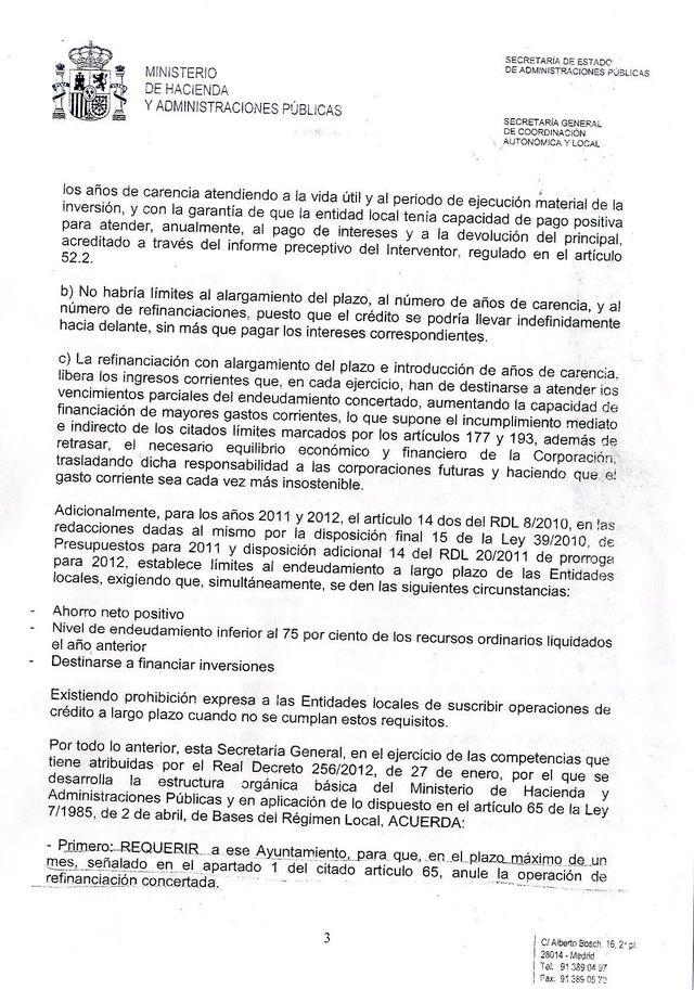 El alcalde hace público un escrito oficial del Ministerio de Hacienda fechado en 2012, Foto 2