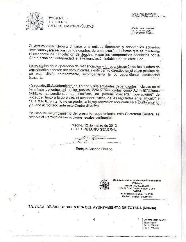 El alcalde hace público un escrito oficial del Ministerio de Hacienda fechado en 2012, Foto 3