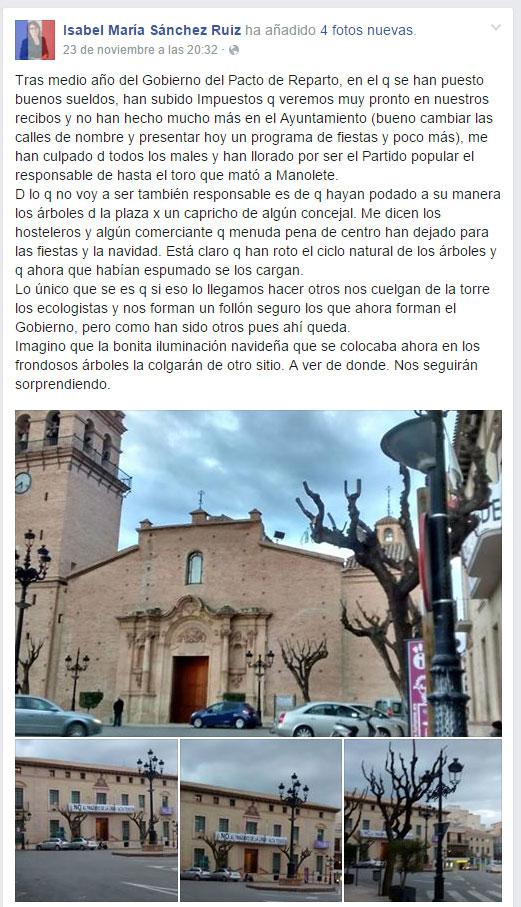 La Concejalía de Servicios a la Ciudad informa sobre los trabajos de poda que se están llevando a cabo en el centro del municipio, Foto 1