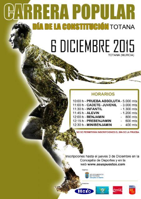 La Concejalía de Deportes organiza el próximo domingo 6 de diciembre la Carrera Popular del Día de la constitución, Foto 1
