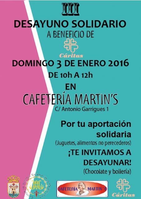 El III desayuno solidario a beneficio de Cáritas tendrá lugar el próximo domingo 3 de enero