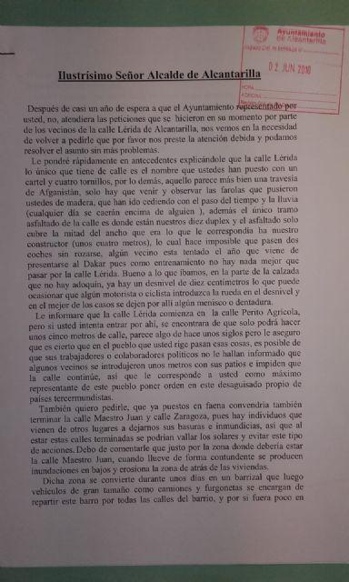 El PSOE insta a Urbanismo a adoptar medidas con carácter de urgencia para acabar con la ´calle del bancal´ en el Barrio del Cabezo Verde de Alcantarilla - 3, Foto 3