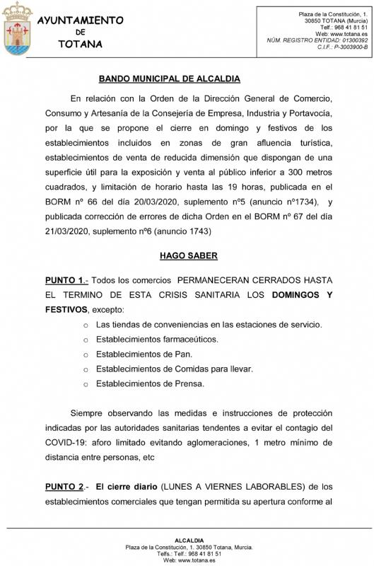 Un Bando de Alcaldía ordena cerrar todos los comercios los domingos y festivos salvo establecimientos de primera necesidad hasta el término de la crisis sanitaria - 2, Foto 2