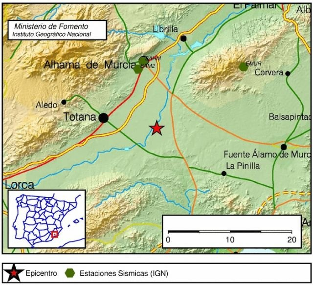 Totana recorded a tremor of 2.4 degrees without any evidence of damages of any kind, Foto 1