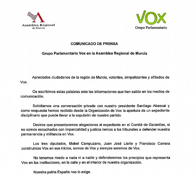 Comunicado del GP VOX de la Asamblea Regional de Murcia - 2, Foto 2