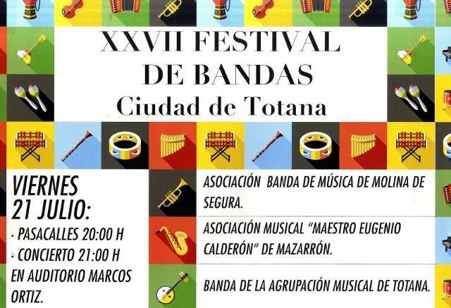 El XXVII Festival de Bandas Ciudad de Totana se celebra esta noche recuperando una actividad que no se celebraba desde el año 2011, Foto 1