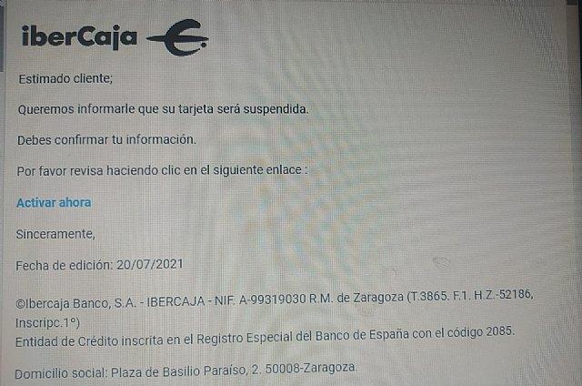 ONSUMUR alerta de un nuevo caso de phishing para los clientes de IberCaja - 1, Foto 1
