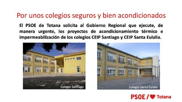 [El PSOE de Totana solicita al Gobierno Regional que ejecute, de manera urgente, los proyectos de acondicionamiento térmico e impermeabilización de los colegios CEIP Santiago y CEIP Santa Eulalia