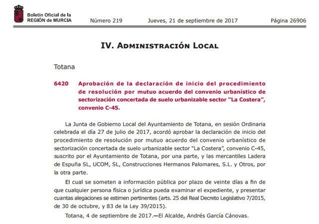 El BORM publica la aprobación de la declaración de inicio del procedimiento de resolución por mutuo acuerdo del convenio urbanístico C-45 - 1, Foto 1