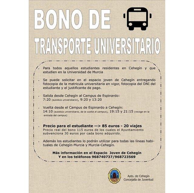 Los bonos de transporte universitario para el curso 20-21 ya se pueden adquirir al precio de 85 euros para 20 viajes - 1, Foto 1