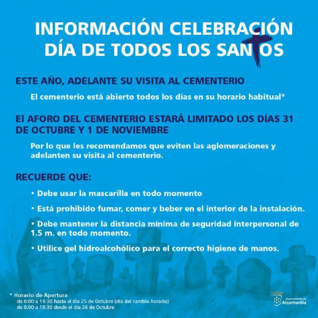 El Ayuntamiento de Alcantarilla recomienda anticipar las visitas al cementerio por el Día de Todos los Santos - 1, Foto 1