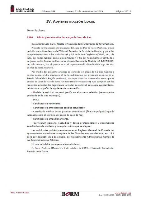 Convocatoria para la elección de un nuevo juez de paz - 2, Foto 2