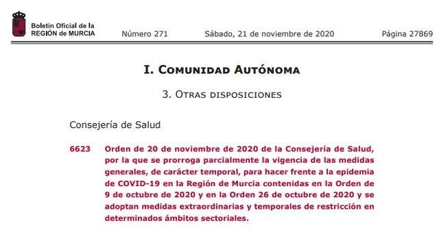 EL BORM publica la orden por la que se adoptan medidas extraordinarias y temporales de restricción en determinados ámbitos sectoriales, Foto 1